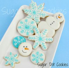 Snowflakes and Snowmen Sugar Cookies - like the round ones