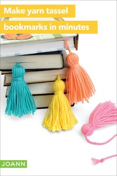 Save your place with colorful bookmark tassels. Now reading is even more fun! Joanns Fabric And Crafts, Yarn Crafts, Diy Crafts, Tassel Bookmark, Diy Bookmarks, Craft Online, Yarn Ball, Homemade Crafts, Craft Stores