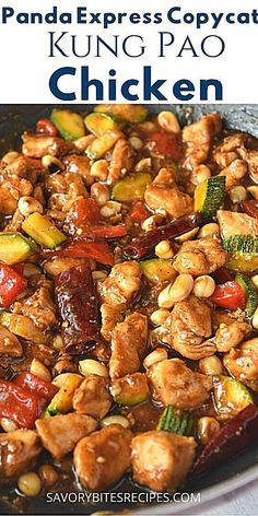 Panda Express Copycat - Kung Pao Chicken- Best and easy Kung Pao Chicken Recipe- Panda Express Copycat Kung Pao Chicken Recipe Easy, Chicken Recipes Juicy, Easy Chinese Chicken Recipes, Asian Recipes, Easy Recipes, Chicken Chunks, Sauce For Chicken, Chicken Feed, Healthy Dinner Recipes