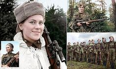 Stunning portraits of the fighters were brought to life by translator Olga Shirnina, from Moscow, Russia, and show women posing with their sniper rifles.