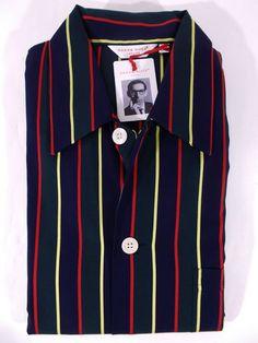 781cb9c616 NWT DEREK ROSE pigiama uomo APERTO 100 cotone 12 MESI righe MULTICOLORE tg L