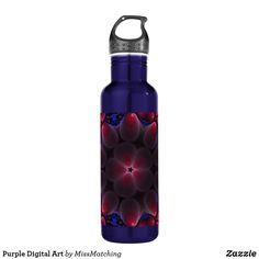 Purple Digital Art Stainless Steel Water Bottle