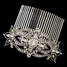 Rhodium Silver Clear Vintage Rhinestone Prom Bridal Wedding Hair Comb