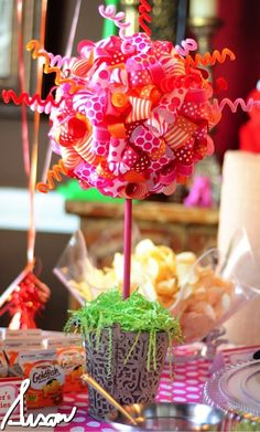 Party Table Centerpiece ~ topiary made from colorful ribbons and tulle pinned into a styrofoam ball