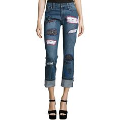 Alice + Olivia Hanna Distressed Patchwork Cuffed Jeans ($595) ❤ liked on Polyvore featuring jeans, multi colors, women's apparel jeans, slim straight leg jeans, ripped jeans, cropped jeans, cuffed jeans and zipper jeans
