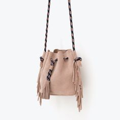 Image 2 of FRINGED LEATHER BUCKET BAG from Zara
