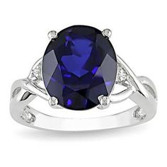 Shop for Miadora Sterling Silver Created Sapphire and Diamond Fashion Ring. Get free delivery at Overstock.com - Your Online Jewelry Destination! Get 5% in rewards with Club O!