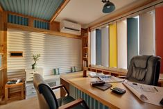 Office Incorporates Corrugated Metal Sheets gives it a Unique Outlook – The Architects Diary – Office İnterior İdeas Office Cabin Design, Office Interior Design, Showroom Design, Office Designs, Interior Ideas, Commercial Interior Design, Commercial Interiors, Cabin Interiors, Office Interiors