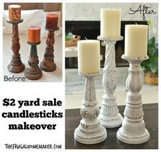 $2 yard sale candlestick makeover----lovely~   http://thefrugalhomemaker.com/2014/04/18/2-00-yard-sale-candlesticks-makeover/