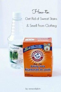 Use baking soda and vinegar to get rid of sweat stains and smell