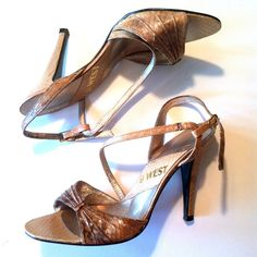 Disco Diva Snakeskin Strappy High Heel Shoes circa 1980s 6.5 - Dorothea's Closet Vintage