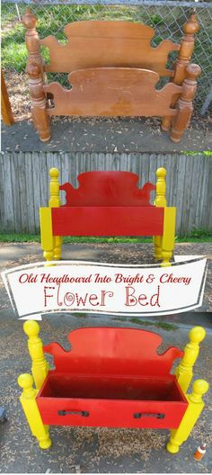 Repurposed Life-old headboard into a bright and cheery flower bed
