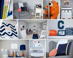 Coleman's Navy Blue, Gray, & Orange Baby  Room