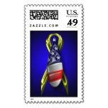 Military Wedding Invitations Postage Stamp http://www.zazzle.com/military_wedding_invitations_postage_stamp-172223336840082198?rf=238756979555966366&tc=PtMPrssFmsWeddng   Customizable Wedding Postage Stamps  - Shop additional traditional   Custom Wedding Stamps  from the wedding postage designer at Artistic Postage. Military Wedding Invitations Postage Stamp - Tear shaped American Flag over a yellow ribbon with royal blue background