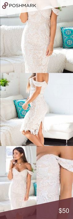 Soft spot dress in white lace Worn once for a birthday party. Such a sexy and beautiful dress. Unfortunately does not fit me anymore Dresses Midi