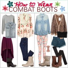 """How to Wear: Combat Boots"" - I like outfit 2, 3, 4 but I don't like the idea of wearing combat boots with a skirt or dress. Just weird."