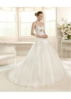 ELEGANT TULLE SATIN ILLUSION HIGH NECKLINE A-LINE WEDDING DRESS WITH LACE APPLIQUES BEADINGS