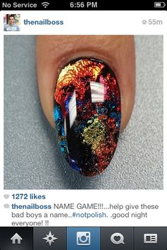 These reminded me of the beautiful costumes of Dance. Esp. the Balinese.... (photo - http://avaxnews.net/pictures/15365) I would call them - BALINESE INSPIRATION NAILS.. I also like the Name- FIRE OPAL NAILS.