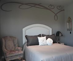 Wingback and stencil by Cielo Interiors.