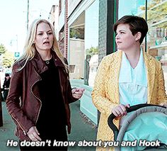 """He doesn't know about you and Hook."""