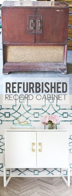 sarah m. dorsey designs: Refurbished Record Cabinet | Before + After