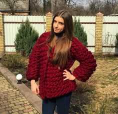 Thick Sweaters, Sweaters For Women, Big Knits, Crochet Fashion, Shawl, Knit Crochet, Knitting, How To Wear, Ideas
