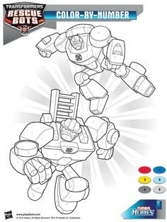 Be a hero and color these Transformers Rescue Bots by number! Playskool, Transformers Rescue Bots, Paint, Color, Activity