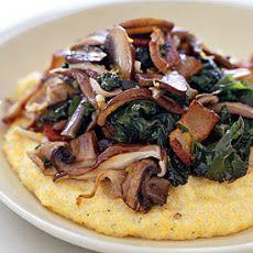 Bacon Polenta Recipe with Sauteed Crimini Mushrooms & Thyme