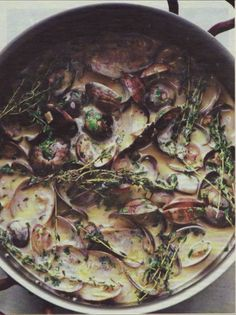 Nigel Slater's clams with cider & cream --- For the evening before Thanksgiving, when you are trying to savor the calm before the storm of activity. Nigel Slater is my food hero. Fish Recipes, Seafood Recipes, Cooking Recipes, Healthy Recipes, Turkey Recipes, Healthy Tips, Fish Dishes, Seafood Dishes, Fish And Seafood