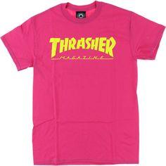 Thrasher Magazine Logo Pink t-shirt - new at Warehouse Skateboards! #newarrivals #skateboards