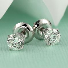 81fa213f3 Certified 14k White Gold 4-Prong Basket Round Diamond Stud Earrings 1.00 ct.  tw. (G-H, VS1-VS2)