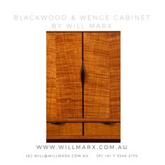 A streamline elegant solid timber cabinet in a minimalist style, this beautiful wooden cabinet showcases the beautiful rich marbly grains that are found in the Tasmanian Blackwood and Wenge timber species. Worldwide shipping available. Every furniture comes with a 10 year warranty on construction. If you are interested in having a custom made fine furniture designed and made by Will Marx for your home or office, please do not hesitate to contact will@willmarx.com.au or +61 7 3348 2170