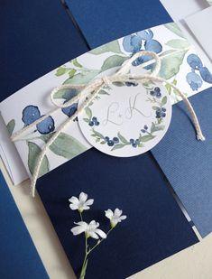 Aquarelle Heidelbeeren Hochzeiteinladung Set Probe von NooneyArt