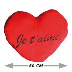 MAXI COUSSIN COEUR ROUGE JE T'AIME XXL sur Logeekdesign.com Cadeau St Valentin, Bean Bag Chair, Heart Cushion, Red Hearts, Valentines Day Treats, Birthday, Weddings, Beanbag Chair, Bean Bag