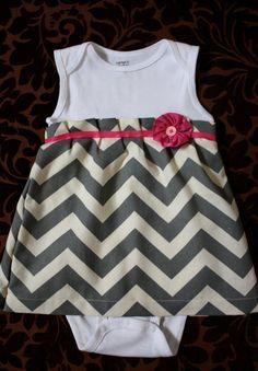 Onesie Dress Chevron print Newborn  18 Month by LizzyJaneBoutique, $25.00