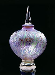 Lidded Vessel With Faceted Food And Lid, CS Pattern Made By Zweifel Art Glass