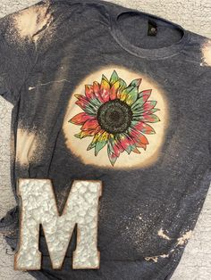 Tie Dye Sunflower Adult Bleached Tee - 2XL / Heather Galapagos Blue