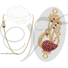 Peacock Design Side Pendant Mugappu American Diamond and Ruby Stones