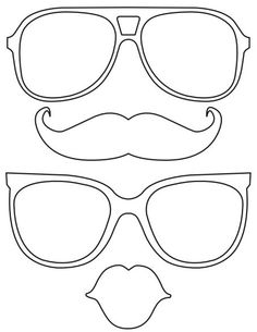 Printable lips mustache glasses
