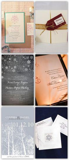 Winter Wonderland Inspiration Board of Christmas Wedding Invitations
