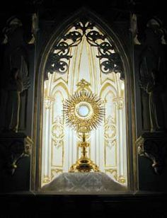 """""""My Lord Jesus Christ, who, for the love You bear to mankind, do remain night and day in this Sacrament, full of pity and love, awaiting, calling, and receiving all who come to visit You; I believe that You are present in the Sacrament of the Altar; I adore You from the depths of my own nothingness; I thank You for the many graces You have given me, and especially for having given me Yourself in this Sacrament...,""""        - St. Alphonsus Ligouri"""