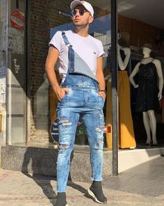 Dope Outfits For Guys, Cool Outfits, Casual Outfits, Overalls Outfit, Dungarees, Salopette Jeans, African Shirts, Herren Outfit, Basic Outfits