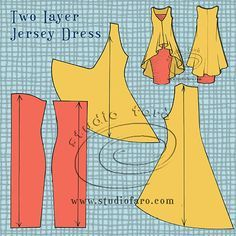 c79086329c08 Two-layer Jersey Dress - pattern making instructions on the blog.  studiofaro well-