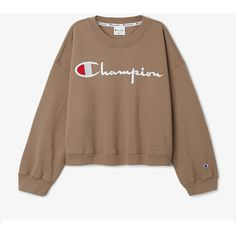 Weekday & Champion Team up on Oversized, Boxy Streetwear ❤ liked on Polyvore featuring boxy tops, brown top and oversized tops