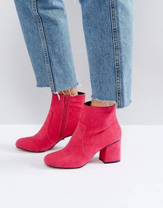Oasis Block Heeled Ankle Boot - Pink