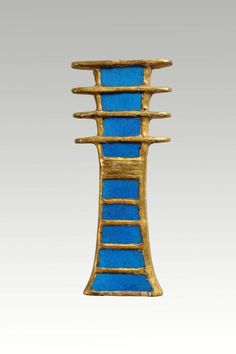 From Egypt: Amulet in the form of a died pillar. Made of wood and glass. New Kingdom 19th Dynasty, reign of Ramesses II (1279-1213 BC). Found in the Valley of the Queens, tomb or Nefertari. Cairo Museum. Ancient Egyptian Jewelry, Ancient Art, Cairo Museum, Made Of Wood, Reign, Queens, Jewellery, Glass, Egypt