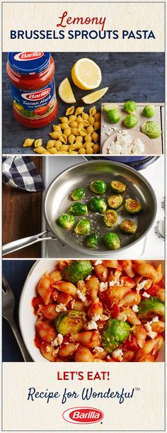If you're looking to freshen up your dinner meal rotation, save this recipe! Zesty lemon and sautéed Brussels sprouts are a unique addition to al dente pasta shells.