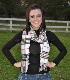 Winter Scarves Pashminas Burberry Like with White Plaid 100 Percent Cashmere  $8.95  http://www.giddyupglamouronline.com/catalog.php?item=6482