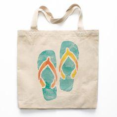 Watercolor Flip Flops Canvas Tote Bag Painted Canvas Bags, Canvas Tote Bags, Canvas Totes, Diy Tote Bag, Jute Bags, Cotton Bag, Cotton Canvas, Fabric Bags, Casual Bags