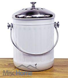 +Sale+ Indoor Kitchen Stainless Steel Compost Bin - White - 1.2 Gallon Container #MiscHome